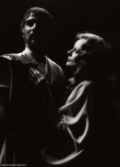 """Maggie Smith as Cleopatra and Keith Baxter as Marc Antony in Shakespeare's """"Antony and Cleopatra"""". Directed by Robin Phillips, Stratford, Ontario, 1976"""