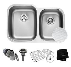Buy the Kraus Stainless Steel Direct. Shop for the Kraus Stainless Steel Outlast MicroShield Scratch Resistant Double Basin Kitchen Sink for Undermount Installations - Basin Racks and Basket Strainers Included and save. Deep Sink, Double Bowl Kitchen Sink, Kitchen Sinks, Kitchen Redo, Kitchen Ideas, Waste Disposal, Undermount Sink, Stainless Steel Kitchen, Box