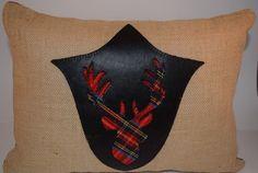 Deer Trophy Pillow w/Faux Leather Applique 3 COLOR CHOICES! By Suzysewsstuff.com #Suzysewsstuffcom #FauxLeatherApplique