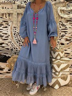 Plus Size Frauen Baggy Ruffle Maxi-Kleid Strand Kaftan Baggy Holiday Langes Kleid - Mode Abaya, Mode Hijab, Dress Outfits, Casual Dresses, Maxi Dresses, Long Dresses, Formal Outfits, Dress Formal, Flower Dresses