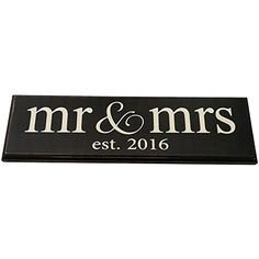 Mr  Mrs Est 2016 Vintage Wood Sign for Wedding Decoration Prop Gift or Wall Decor  PERFECT WEDDING GIFT lowercase *** Read more at the image link.