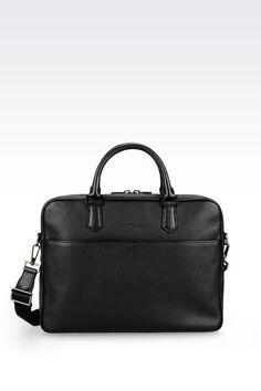 Emporio Armani Men Briefcase - BRIEFCASE IN GRAINED CALFSKIN Emporio Armani  Official Online Store Emporio Armani 390398f880234
