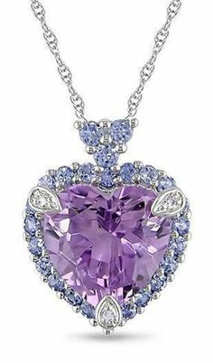 Purple Cz Heart Halo Necklace Delicate Love 925 Sterling Silver Valentine Day Sp #NIKIGEMS #Pendant