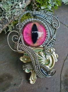 Gothic Steampunk Woven Wire Eye Pendant by twistedsisterarts, $69.95