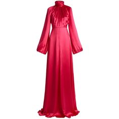 Gucci High-neck gathered silk-blend satin gown ($5,570) ❤ liked on Polyvore featuring dresses, gowns, gown, gucci, pink, long evening dresses, evening gowns, red gown, long red evening dress and cocktail dresses