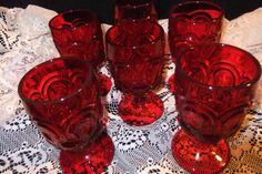 Vintage LG Wright Ruby Red Moon and Stars Glass by BriarPacific