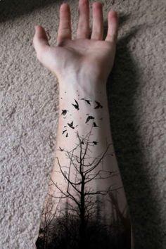 So haunting and beautiful. #Dark #Forest #Tattoo:   tatuajes | Spanish tatuajes  |tatuajes para mujeres | tatuajes para hombres  | diseños de tatuajes http://amzn.to/28PQlav