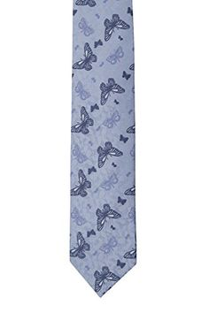Notch Men's Silk Necktie – DIEGO – Lightblue leafy base, blue & navy butterflies