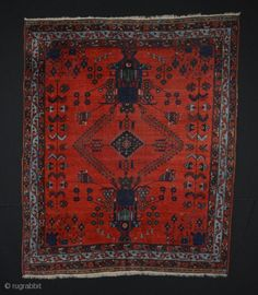 """Antique Afshar , wool on wool, measuring 4'6"""" x 5'5"""" ,  has a couple of low…"""