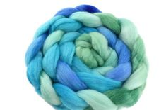 Corriedale Wool Sliver/Roving/Top Hand Dyed  Blue Green Mix 12402 Nuno Felting, Needle Felting, Weaving Projects, Neck Wrap, Dyes, Fiber Art, Spinning, Blue Green, Knit Crochet