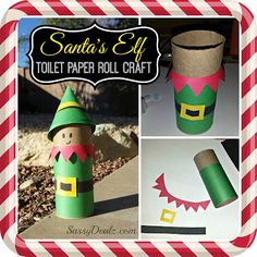 Elf-toilet paper roll craft for Christmas.Here is a fun elf craft for the kids to do for Christmas! We use a recycled toilet paper roll and turned it into Santa's helper! All you really need is construction paper and tape to do this art project. Christmas Activities, Christmas Crafts For Kids, Christmas Elf, Christmas Projects, Holiday Crafts, Holiday Fun, Fun Crafts, Spring Crafts, Christmas Ideas
