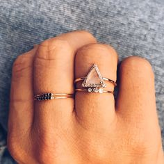 Rose Gold & Diamond Triangle Ring - local eclectic - 6