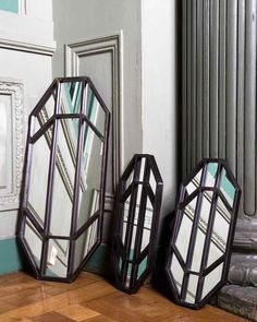 Blossom Suite - Pomax Home Collection Metal Wall Panel, Metal Mirror, Metal Panels, Wall Mirror, Geometric Lines, Geometric Wall, Window Pane Mirror, Antique Pewter, Wall Decor