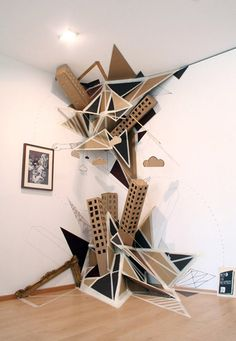 "Disorder installation in the Museum of Sculptures ""Glaskasten"" Marl, Germany. Cardboard City, Cardboard Sculpture, Cardboard Crafts, 3d Street Art, Abstract Sculpture, Sculpture Art, Sculpture Ideas, Sculpture Projects, Behr"