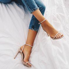Nude single strap heel.