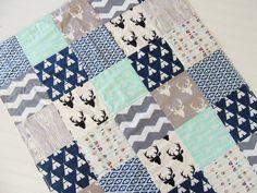 Baby Quilt Boy Teepee Woodland Deer Arrows by MamaBearPumpkinPatch