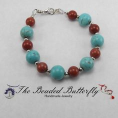 Turquoise Magnesite and Red Jasper Bracelet  by TheBeadedButterfly, $20.00