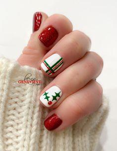 Christmas Gel Nails, Christmas Nail Art Designs, Holiday Nails, Stylish Nails, Trendy Nails, Fancy Nails, Diy Nails, Heart Nails, Best Acrylic Nails