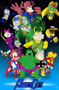 Family Guy Avengers by on DeviantArt Family Guy Stewie, Family Guy Funny, Comic Book Characters, Marvel Characters, Marvel Dc, Marvel Comics, Dog Food Bin, The Simpsons Guy, Griffin Family