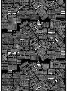Bird's-eye-view of a city by Aino-Maija Metsola // // We call this print Asemakaava! Textiles, Textile Patterns, Textile Design, Fabric Design, Print Patterns, Textile Art, Marimekko Fabric, Scandinavia Design, Photography Themes