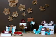 Baby shower, love the color match and the hand made flower backdrop.