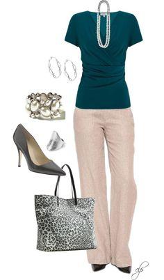 Teal and khaki- dressy casual- feminine