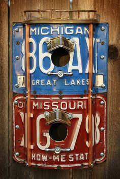 License Plate Repurposed Metal Birdhouses by GadgetSponge.com