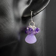 Amethyst and jade sterling silver earrings handmade semiprecious stone faceted amethyst jade cluster teardrop earrings purple silver earring by CretanHareCreations on Etsy