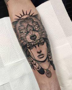 60 Best Native American Tattoo Designs To Inspire You Indian Women Tattoo, Native Indian Tattoos, Indian Tattoo Design, Wolf Tattoos For Women, Tattoos For Guys, Cool Tattoos, 3d Tattoos, Tattoo Ink, Native American Warrior Tattoos
