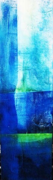 #Hochformat/#blau #neongrün lang, #Aquarell auf Holz, ca. 70 x 25 cm