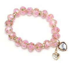 Betsey Johnson Rose-Quartz Flower Bead Stretch Bracelet ($30) ❤ liked on Polyvore featuring jewelry, bracelets, heart bracelet, heart jewelry, pink bracelet, pink jewelry and bead bracelet