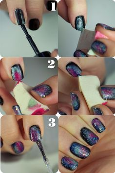 I guess there IS a good use for some shades of pink nail polish: Galaxy Nails