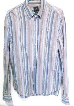Armani Exchange AX Shirt Embroidered Multicolor Gold Stripes Sz L Coton Blend #AXArmaniExchange #ButtonFront