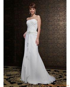 Un tren de lÍnea baja cintura acanalada Vestidos de novias baratos modernos estilo elegante