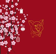 hinh-anh-lon-ben-hoa-dao-30 Chinese Theme, Chinese New Year, Lunar New Year Greetings, Guard House, Congratulations Baby, Asian Design, China, Happy New Year, Pattern Design