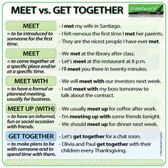 The difference between MEET, MEET WITH, MEET UP and GET TOGETHER in English. #ESL #Vocabulary