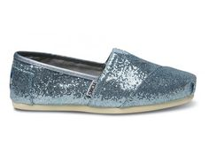 TOMS Blue Glitter are the perfect whimsical accent to your wedding day style.  These sparkle Blue Glitters are also perfect for casual outings. With every pair of TOMS Glitter, TOMS, will give a pair of new shoes to a child in need. One for One.