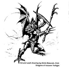 Draconian by Denis Beauvais, found in The Art of Dragonlance