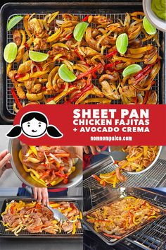 Sheet pan chicken fajitas are perfect for busy weeknight meals! Plus, it's Whole30-friendly, even topped with a dairy-free Avocado Crema! #nomnompaleo #paleo #whole30 #glutenfree #primal