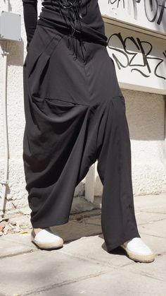 NEW COLLECTION Loose Assymetrical Black Pants / Wide by Aakasha