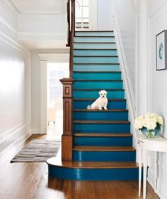 Ombré Stairs! Love the colored stairs with the crisp white walls!