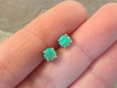 Light Green Fire Opal Post Earrings by MidnightsMojo on Etsy