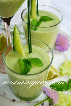 """So now please enjoy this """"Soupe Froide à l'Avocat et au Concombre"""" recipe (Avocado and Cucumber Cold Soup) that I have made WITH and FOR my kids!! An easy one to make... From Cuisine et Cigares : https://plus.google.com/112762565651002235213/posts/9tE9JPesocj"""