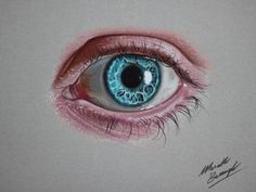 Marcello Barenghi – Very elaborate colored eye drawing, with contrasts of pink and blue.  - Eyes are the windows to the soul. There's no person in the world who doesn't know this common wisdom, which is actually quite true. Eyes are the most expressive part of the human face, they reveal our feelings and our state of spirit. If we tell lies, eyes can reveal the truth, if we feel happy, eyes start to glow. Besides the myriad of idioms, poems, songs dedicated to the beautiful human eyes…