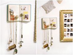 DIY jewelry display using books and knobs