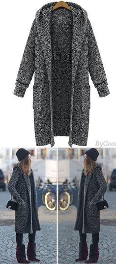 Hooded Lapel Knit Long Cardigan Sweater Coat for big sale! #cardigan #sweater #coat #knit