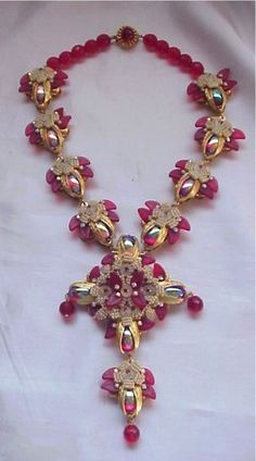 STANLEY HAGLER Necklace ANTIQUE SEED PEARL & RUBY GLASS LEAVES