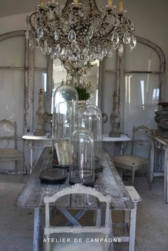 Vintage Crystal Chandelier - Atelier de Campagne, via Neutral Haven