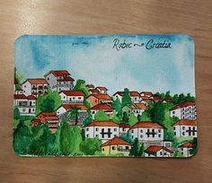 Hand-painted postcard