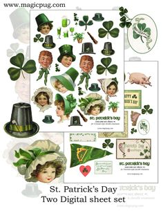 Patrick's Day Victorian Chenille Ornaments digital collage sheet set -- two printable sheets and a PDF tutorial St. Patrick's Day Diy, Chenille Crafts, Etsy Shop Names, Selling Handmade Items, Artist Supplies, Collage Sheet, Digital Collage, My Images, Free Images